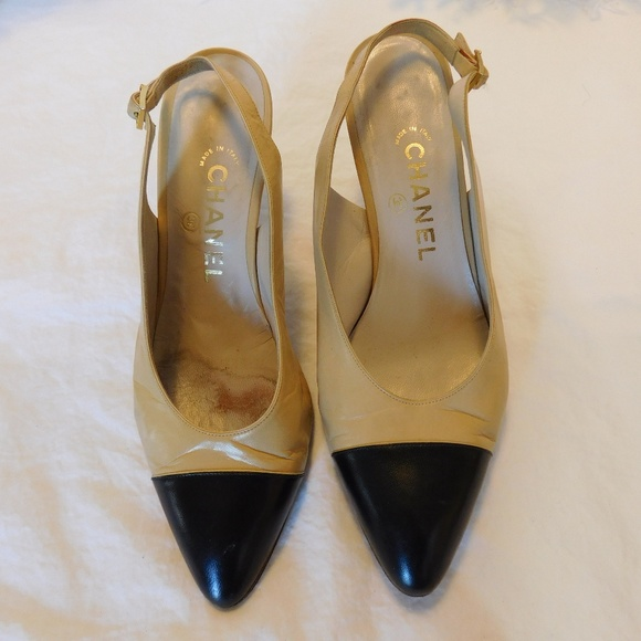 91c19d9b859 CHANEL Shoes - Chanel Vintage Two Tone TAN BLACK SlingBack Heels